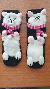 Non Slip Ladies Child CAT Slipper Socks Size 4-6. Cute and warm