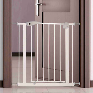 Metal Pet Dog Barrier, White Door Stairs Safety Gate Fence with Secured lock