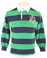 POLO RALPH LAUREN Boys Rugby Polo Shirt 15-16 Years Medium Green Cotton  NJ11
