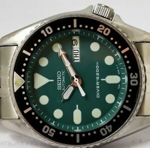 LOVELY SEIKO 7S26-0030 SKX013 AUTOMATIC MENS WATCH GREEN MODDED SN 761882