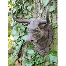 Cast Iron Bull Head Wall Hanging with Ring Cow Garden Ornament Mounted Decor