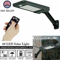 US 60LED 1000LM Solar Power PIR Motion Sensor Wall Street Light Path Garden Lamp