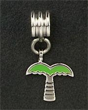 Stainless Steel Bead Dangle Palm Tree Green Enamel Fit European Charm Bracelet