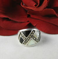 Sterling Silver ONyx & MOP Marcasite Ring Size 5.5  FERAL CAT RESCUE