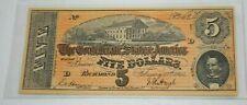 Crisp Historic Legal 1864 $5.00 CONFEDERATE STATES OF AMERICA BANK NOTE COPY