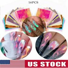 16 Pcs Holographic Fire Flame Stencil Hollow Stickers Stencil Stickers Nail Art