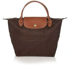 NWT LONGCHAMP Le Pliage Type S Small Nylon Short Handle Bag Chocolate BROWN AUTH