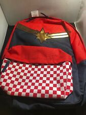Vans x Marvel Captain Marvel Backpack Red White Checkerboard Ships Free NWT NR