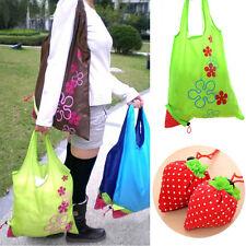 Eco Reusable Folding Grocery Shopping Shoulder Pouch Handbag Strawberry Bag