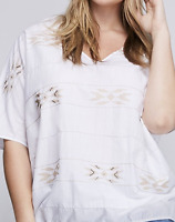 LANE BRYANT Embroidered Wedge Drama Top 18/20 22/24 White Tunic Blouse 2x 3x