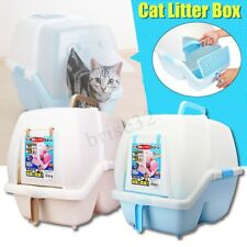 Pet Cat Toilet Litter Pan Box Tray House Hooded Flap Door Scoop Supplies