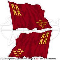 MURCIA REGION Flying Flag SPAIN Región de Murcia Spanish 75mm Stickers Decals x2