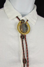Women Gold Metal Pendant Black Red Braid Rope Western Fashion BOLO Tie Necklace