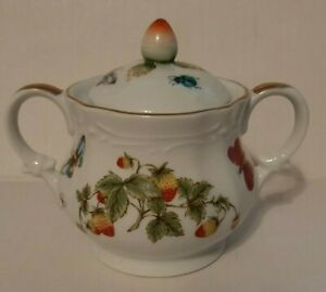 SPRING TIME Royal Crown China Mini Sugar Bowl & Lid / Strawberries & Butterflies