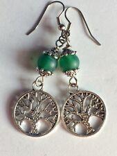 94f853e83 ... Aventurine Stone Bead Surgical Steel Hook Tree Of Life Dangle Earrings  w. Green