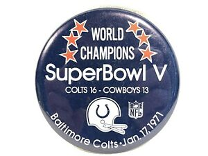 "Vintage NFL Football 1971 Super Bowl V Colts vs Cowboys 3"" Pinback Button Unitas"