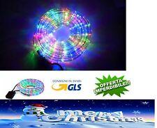 TUBO LUMINOSO 10m 20m LUCI LED BIANCO GHIACCIO NATALE MULTICOLORE 8 giochi luce