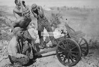 WWII photo US Marines firing from captured Japanese Type 92 battalion howitz 432