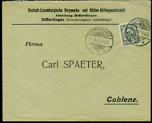 Luxemburg perfin D.L. on 1908 cover to Germany. Mining company.