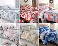 Patchwork Vintage Floral  / Duvet Quilt Cover Bedding Set / Red  / Pink / Grey