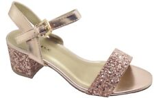 Ladies Sandals Sparkly Glitter Mid Low Block Heel Party Shoes Size 3 4 5 6 7 8 UK 6/ EU 39 Rose Gold