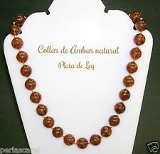 COLLAR de AMBAR Natural 14 mm y Plata de Ley 925. long. 47-48 cm y Estuche Lujo