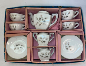 Vtg 40-50's Straco Toy Child's Tea Set Teapot Creamer Sugar Cups Saucers Boxed