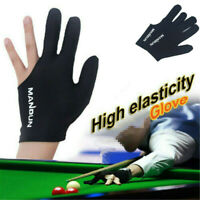 1X Black 3 Finger Billiard Gloves Pool Cotton Gloves Spandex Lycra for Left Hand