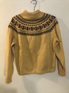 Vintage Stix Baer Fuller Womens Yellow Fair Isle Wool Sweater Size S 38