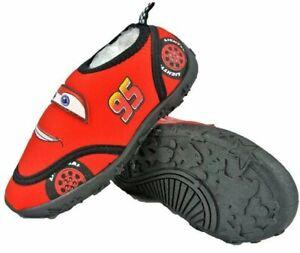 Boys Cars Aqua Shoes Kids Beach Water Swim Pool Socks Rubber Sole Size 6 - 11
