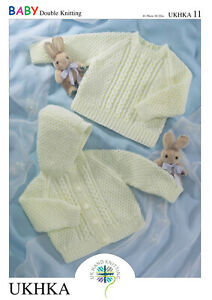 "UKHKA 11 -  Baby Hooded Cardigan & Sweater Knitting Pattern In DK 16-22"""