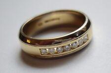HM 18ct 18k Yellow White Gold Channel Set Diamond Wedding Band Ring 6mm Size O