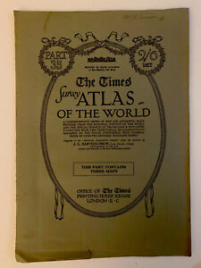 Map world polar 1920 Times Survey Atlas Plates 7,8 & 9 Bartholomew & Sons Pt 35