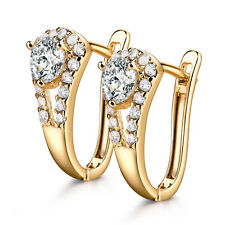 Elegant Retro 18K Yellow Gold Filled Diamond Huggies Lady Party Banquet Earrings