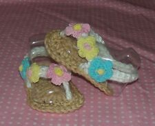 BABY SANDALS FLIPFLOP HAND CROCHET 3-6 MONTHS TAN/ WHITE by ROCKY MOUNTAIN MARTY