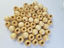 "Lot of 50 Natural Wood Round Macrame Wooden Craft Plant Hanger Beads 1"" 25mm"