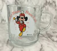 Walt Disney Glass Mug 1955 Mickey Mouse Club Band Anchor Hocking 8 oz Cup Red