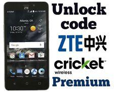 Unlock Code ZTE CRICKET Fanfare 3 X2 Max 3 Z959 Z988 Z852 Z815 Z832 Z987 X4 X3