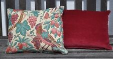 """New 12 x 14"""" Liberty 'Melrose' birds and fruit with red velvet cushion"""