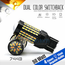 2X High Power Chip LED 7443 Dual Color Switchback LED Turn Signal Light Bulbs