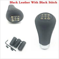 5 Speed Leather & Black Line Aluminum Manual Car Gear Shift Knob Shifter Lever