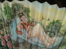 Vintage Handpainted Chinese Hand Fan with Wood Trim