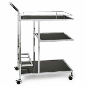 "Torre & Tagus Lenox Chrome 3-Tier Bar Cart, Silver, 34"" x 15"" x 28"""