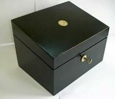 A black wooden letter / trinket box with mother of pearl fittings - newly lined