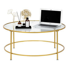 36in Round Tempered Glass Coffee Table w/ Gold Metal Frame for Home Living Room