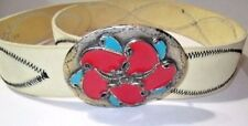Beige Leather Country Style Stitched Gap Belt Enamel Flower Pretty Buckle Italy
