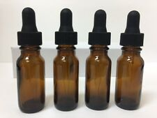 4 - 1/2 Oz Amber Glass Bottle with Glass Eye Dropper (15ml) - Pack of 4 , New
