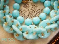 VINTAGE ART DECO CZECH UNUSUAL FAUX TURQUOISE GLASS PUZZLE BEADS ROPE NECKLACE