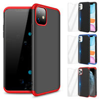 For iPhone 11 Pro Max Case Slim Hybrid Shockproof Hard Thin Cover Tempered Glass