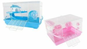 Deluxe Cute Hamster Mouse Gerbil Cage 2 Tier with House Wheel Slide Dish Bottle